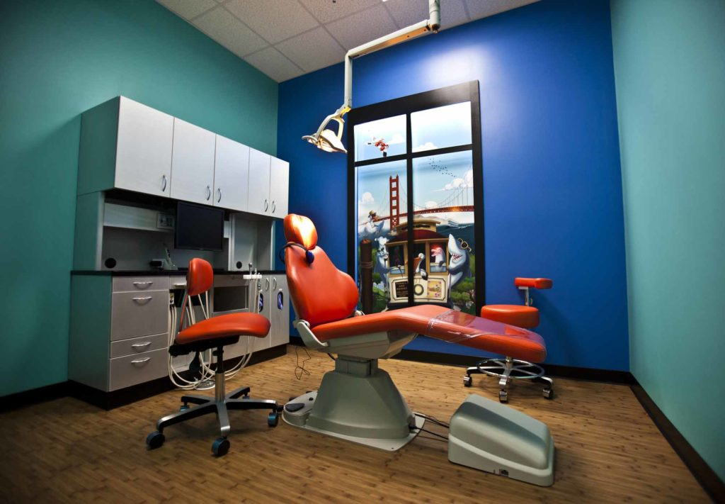 office tour of Smiling Seal Pediatric Dentistry examination chairs