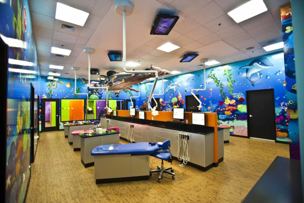 office tour of Smiling Seal Pediatric Dentistry main exam area